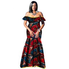 2018 African Dresses for Women Bazin Wax Print Plus Size African Clothing  Dashiki off Shoulder Party ... 4edc7ccb3f76