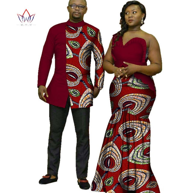 705d68d8bc Hover to zoom · 2018 African Print Clothes for Couple Dashiki elegant lady  party Dresses and men shirts cotton African