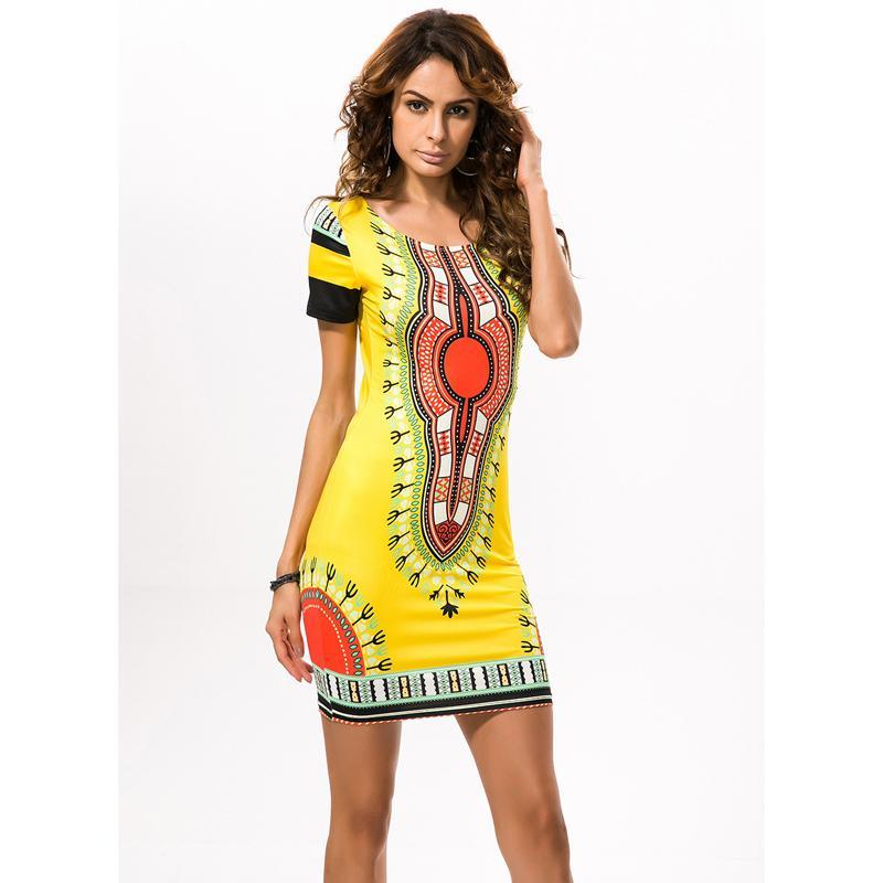 2018 African Print Dresses for Women Africa Clothing Traditional Dashiki  Dresses Fashion Designs Plus Size Dress Female 2XL 3XL