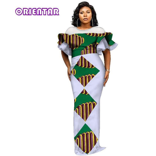2018 African Print Yarn Dresses for Women Bazin Riche Ruffles Sleeve Patchwork Long Dress Traditional African Clothing WY3027