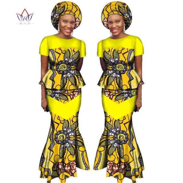 ea5f26c3603 ... 2018 African Skirt Set for Women Dashiki Free Headtie Plus Size Africa  Clothes Crop Top and ...