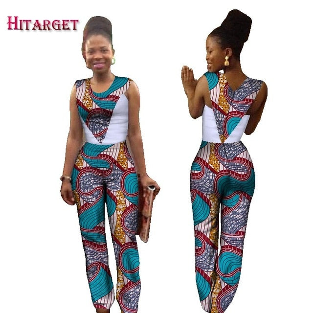32750aefd28a2 2018 Autumn Africa Cotton Wax Print Romper African Bazin Riche Sexy  Jumpsuit For Women Dashiki Hanging Neck Jumpsuit WY1424