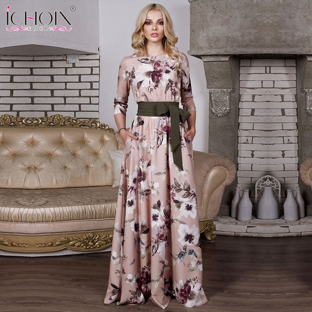 c1db5e712f4 Hover to zoom · 2018 Autumn Long Dress Women Vintage Floral Print Female  Evening Party Maxi ...