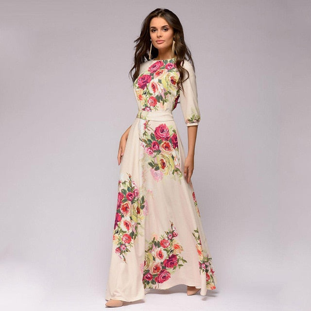 e371bab3133 Hover to zoom · 2018 Autumn Long Dress Women Winter Elegant Floral Printing  Female Maxi Dress Chiffon Bohemian ...