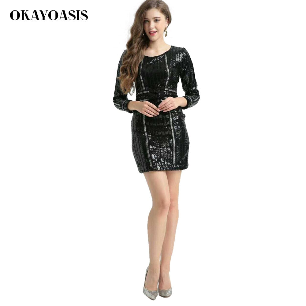7734ce6dc969 2018 Autumn New Women Dress Long Sleeves O Neck Dress Bodycon Sequined  Striped Dress Celebrity Party