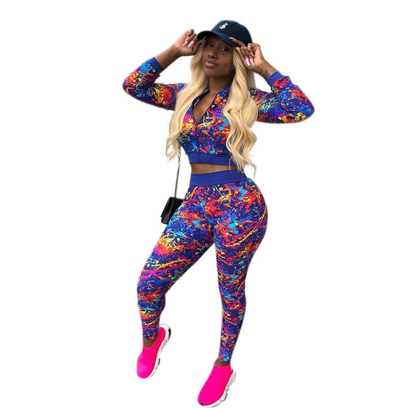 1a410dfcc96 Hover to zoom · 2018 Autumn Plus Size Women Tracksuit Printed Two Piece Set  Top and Pants Jogging Sweat Suits