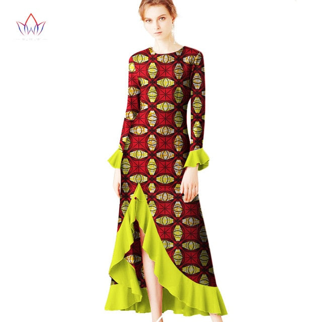 Size Neck Africaine Ruffles Dresses 2018 6xl African Traditional Dashiki Print Robe 5xl Long Autumn Femme O Plus Wy2344 OZuXiPkT