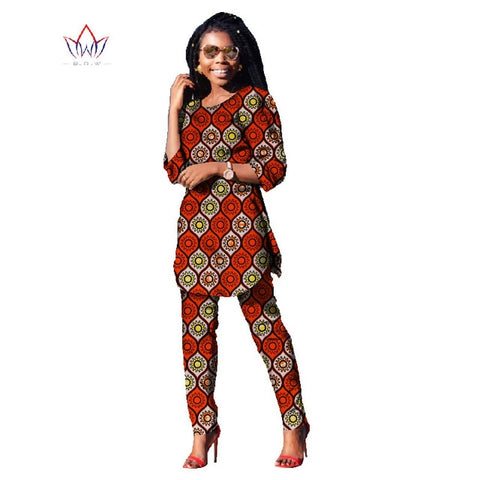 2018 Autumn Two Piece Casual Set Wax Top and Pants Suits African 6xl africa Cotton Clothing woman Plus Size Brand Custom WY481