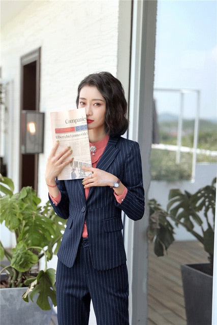 0b1130c337 Hover to zoom · 2018 Autumn Winter Formal Elegant Women s Blazers Trouser Suits  office Ladies Lady pants and blazer Jacket