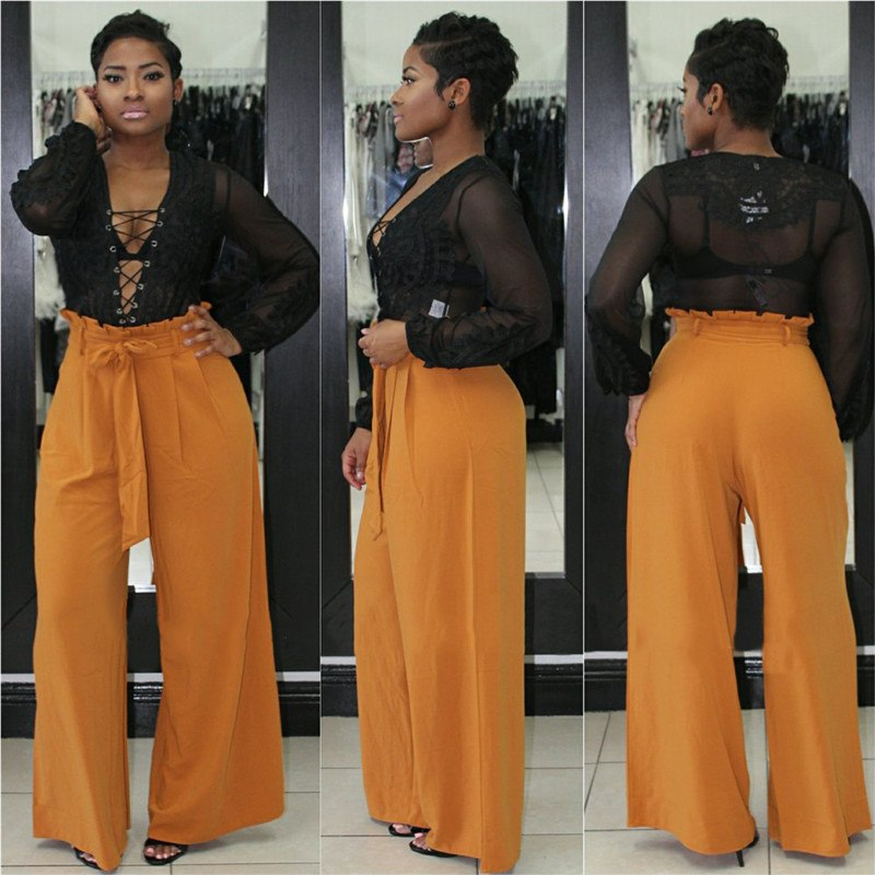 2018 Women Pants Wide Leg Loose Lady Clothes Lace Up Casual High Waist Solid Trousers Ladies Clothing Fashion Summer New Hot Pants & Capris