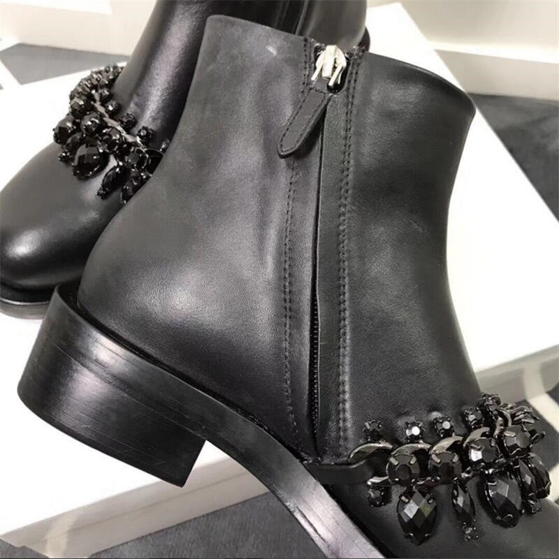 ab21804ec4185 ... 2018 Black Rhinestone Chain Ankle Boots Woman Round Toe Real Leather  Flat Martin Boots Women Fashion ...