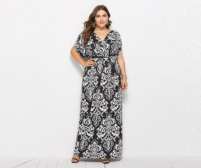 b77d7cabb75b Hover to zoom · 2018 Bohemian Large Sized Maxi Dress Women Ethnic Floral  Print Bandage Batwing Sleeve ...
