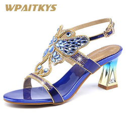 2018 Butterfly Shaped Crystal High-heeled Shoes Woman Purple Golden Blue Elegant Rhinestone Buckle Strap Fashion Women's Shoes