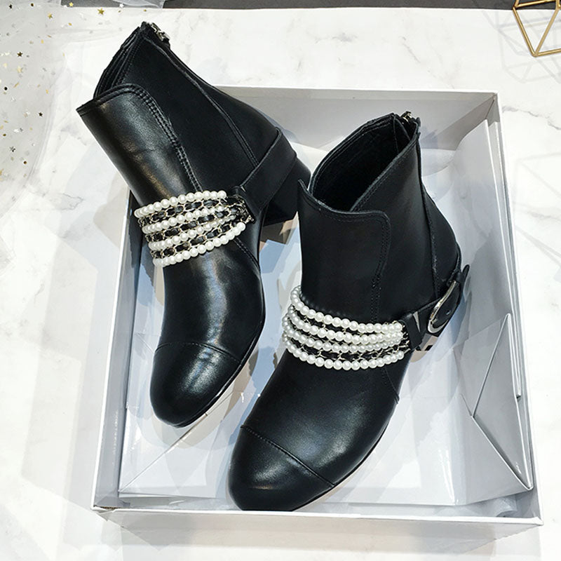 c1bb09aaec5 2018 Chic Ankle Boots Women Round Toe Pearl Chain Metal Decor Low Heel  Boots Woman Fashion Martin Boots