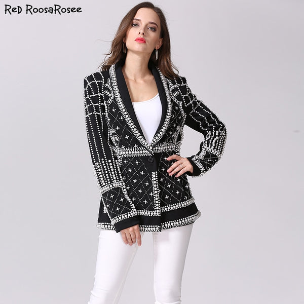 2018 Designer Runway New Fashion Top Quality Women's Pearls Handmade Beads Novelty Long Sleeve Jacket Luxury Black Outerwear