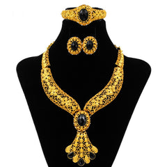 2018 Dubai Fashion Creative Design 24 Gold Jewelry Set Black Crystal Necklace Ring Earrings Bride Wedding Gift Accessories