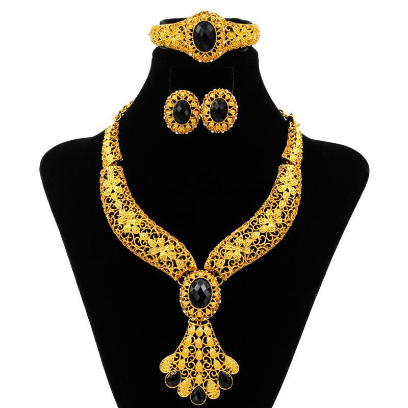 2018 Dubai Fashion Creative Design 24 Gold Jewelry Set Black Crystal