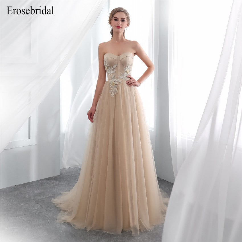2018 Evening Dress Elegant Long Erosebridal Lace A Line Evening ...