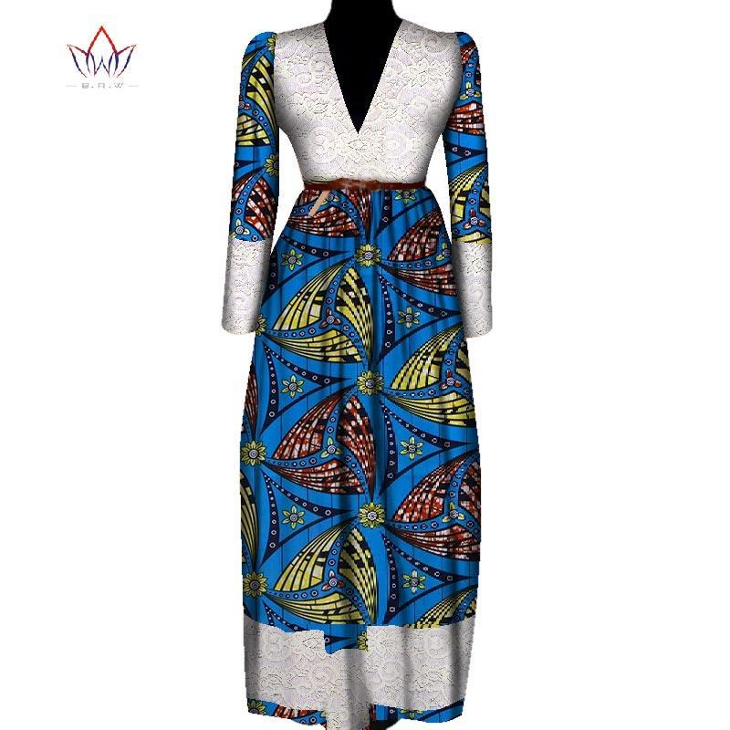 2018 Fashion Africa Print women summer Long Sleeve maxi dress plus size  african dresses for ankle-length dashiki cloth 5xl WY850
