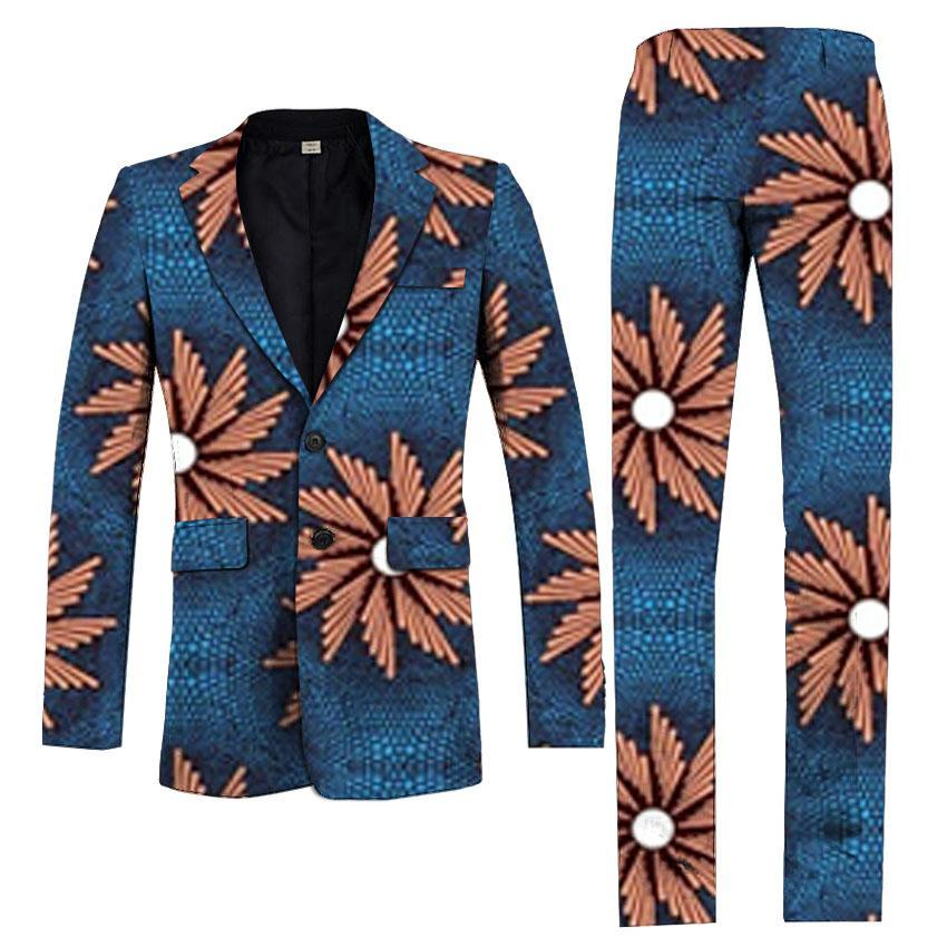 2018 Fashion African Men Pant Suits Dashiki Print Suit Jackets And