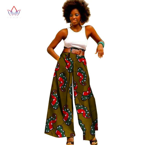 2018 Fashion African Print Pants Plus Size African Clothing for Women Dashiki Office High Waist Loose Straight Pants WY1099