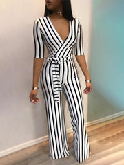 8dca245c6136 2018 Fashion Deep V One Piece Striped Women Overalls Waist Belted Wide Leg  Office Sexy Bodysuit ...