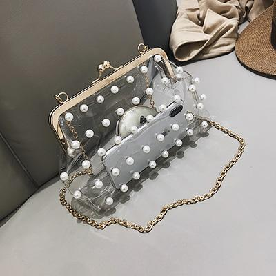 a573b9315665 ... 2018 Fashion Pearl Clear Transparent PVC Women Messenger Bag Hologram  Laser Colorful Bag Girls Small Chain ...