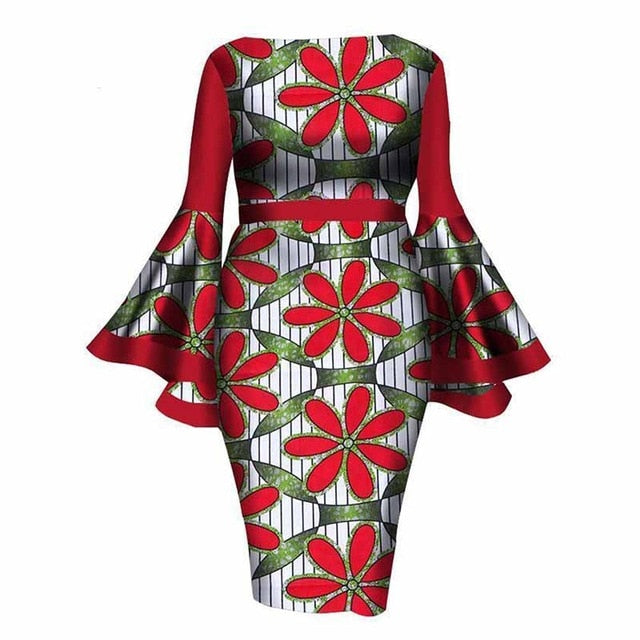 187efc30cbb ... Bodycon Flare Sleeve Girls Dress Sheath Autumn Red Plus Size Floral  Color Block. Hover to zoom