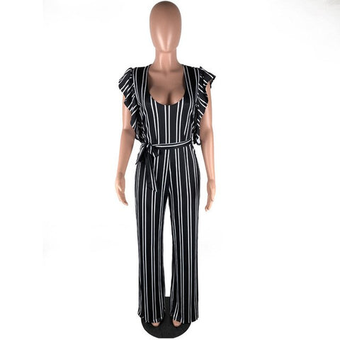 2018 Fashion Striped Printed Ruffle Sleeve Jumpsuit Women Overalls Elegant V Neck Rompers Womens Jumpsuit Combinaison Femme