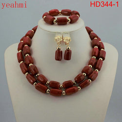 2018 Fashionable African Wedding Jewelry Set Coral Beads Jewelry Set Nigerian Beads Necklace Jewelry Set Free Shipping HD344-1