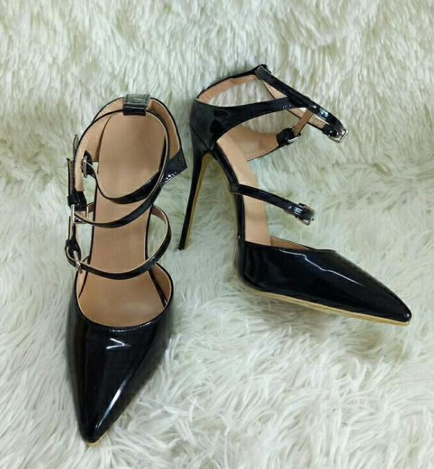 031b9f8fb2b20 2018 Female Fashion Dress Shoes Ladies Buckles Slingback High Heels Black  Smooth Leather Women Point Toe Pumps Elegant Style