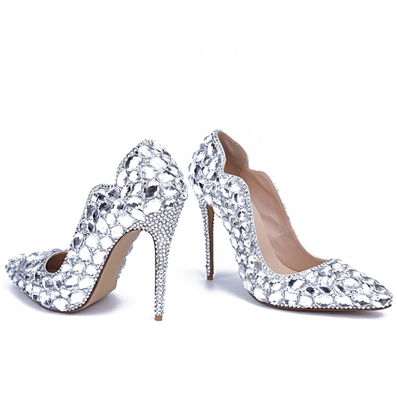 b6d6a23b82f397 ... 2018 Handmade Bling Pure Rhinestone Wedding Shoes Woman Pointed Toe  Crystal High Heel Shoes Women Sexy ...