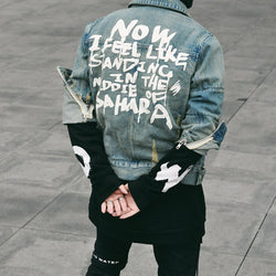 2018 High quality men top belted trench fashion designer hip hop street denim US jacket coat swag Justin Bieber clothes L167