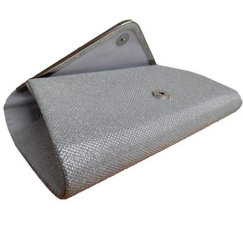 Image of 2018 Hot Sale Promotion Day Clutches Black Silver Shoulder V Metal Chain Design Glitter Shine Bag Elegant Handbag Women Clutch
