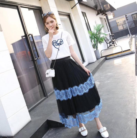 2018 Korean Style Women Two Piece Suit Lace Hollow Letter Embroidered Blouse & Mid Long Gauze Skirt Sets Student Holiday Cloth