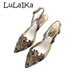 2018 Ladies pumps women shoes Color Crystal Studded Pointy Toe women heels Sexy Chic Bride Party wedding Lady High Heels 8.5cm