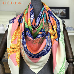 2018 Luxury Brand Bandana Foulard Hijab Gifts for Wholesale130x130cm FashionTwillSilk Scarf Women Printed Head coverSquare Shawl