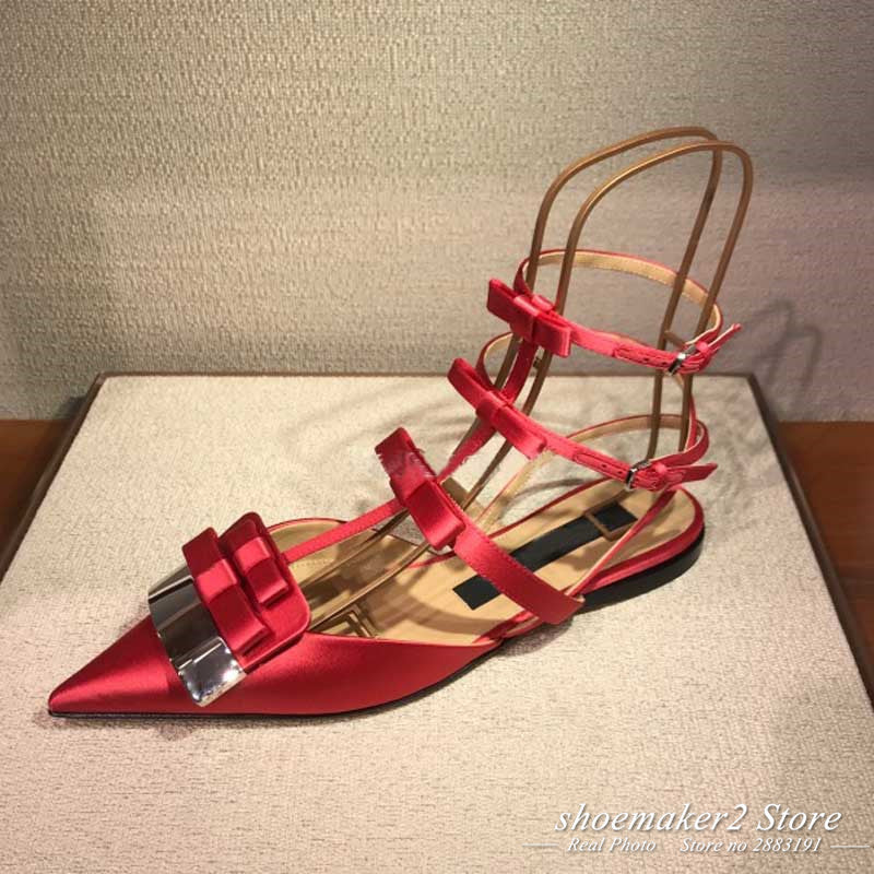 68c09497ef6 Hover to zoom · 2018 Luxury Satin Bow Gladiator Sandals Woman Pointed Toe  Metal Decor Three Belt Ankle Strap Flat