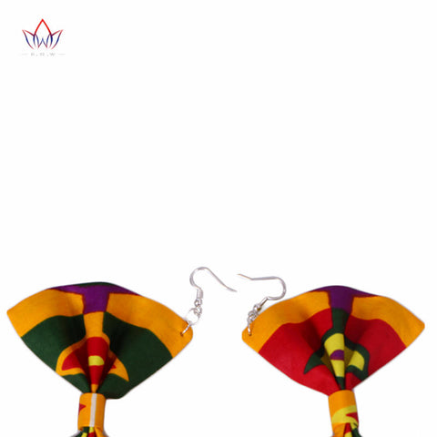 2018  Multicolor Ankara Earrings Ethnic Flower Shape Earrings African Fabric Earring Double Layer Big Earring BRW WYB356