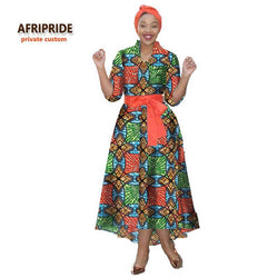 2018 NEW Batik Fabrics african dress with headscarf and belt for women AFRIPRIDE half sleeve ankle length women dress  A722513