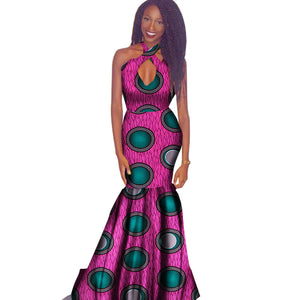 4d93fa2e056 2018 New African Dresses for Women Wax Print Bazin Riche Sexy Party Hollow  Out Dress Plus ...