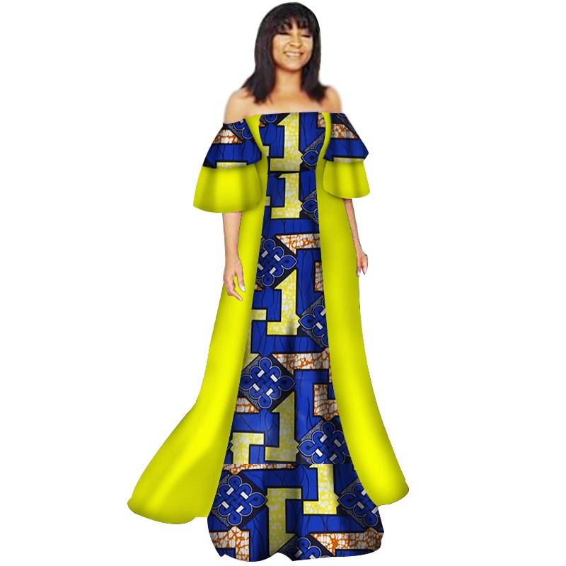 f32c34beb02 ... Women Bazin Riche Patchwork Off Shoulder Dresses African Design. Hover  to zoom