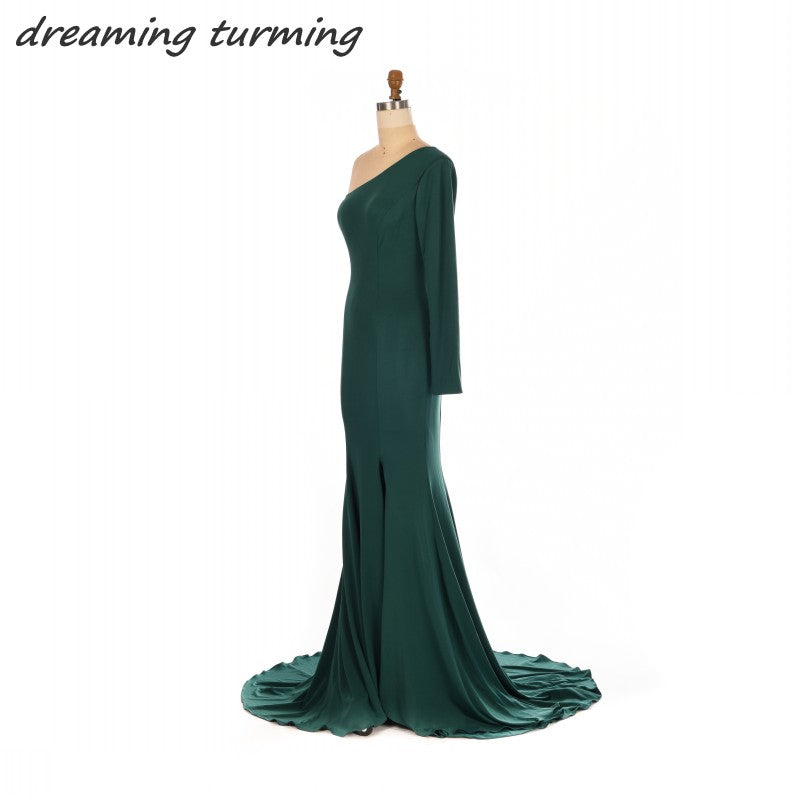 2018 New Ankara Style Emerald Evening Dresses With One Long Sleeves ...
