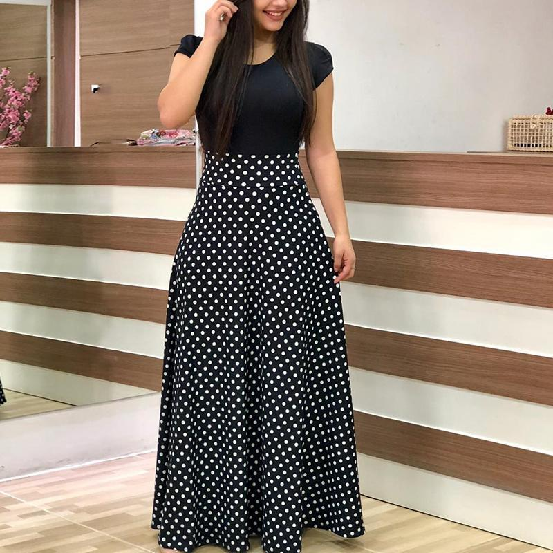 63367c99f5c Hover to zoom · 2018 New Arrival Women Fashion Summer Black Elegant Casual Party  Dress Short Sleeve Polka Dots Print