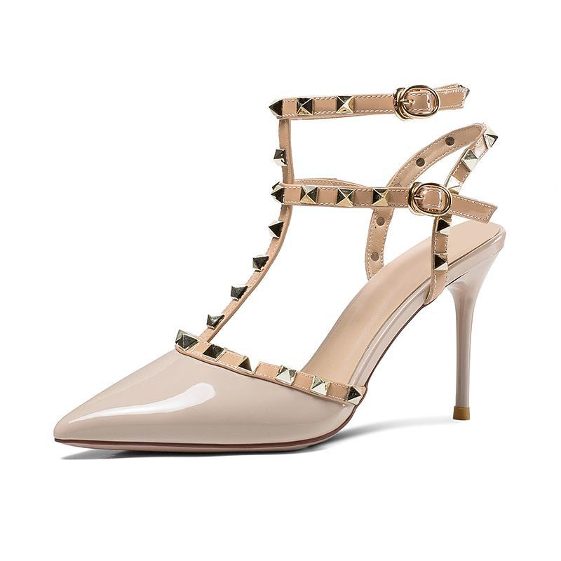 ... 2018 New Arrivals Valentine Sandals Party Shoes Women Punk Rivets Sexy  Buckle Studded High Heels Sandals ... 59703eee7c64