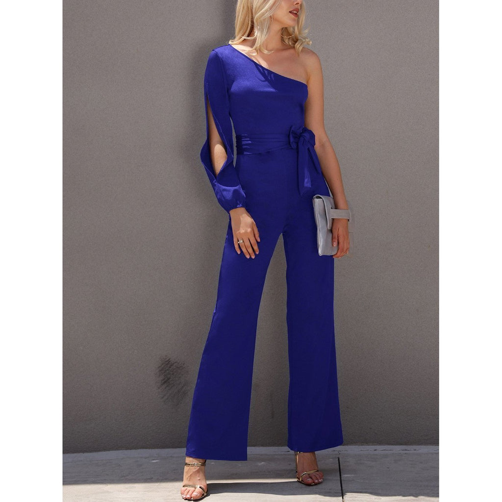 f0b2540fcb 2018 New Arrivals Women Fashion Office Lady Solid Jumpsuit Stylish One  Shoulder Slit Sleeve Black Jumpsuit ...