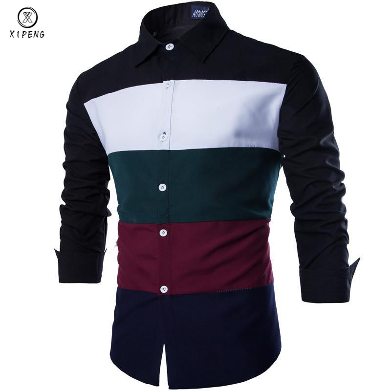 2018 New Autumn Fashion Men Clothes Slim Fit Men Long Sleeve Striped C Owame
