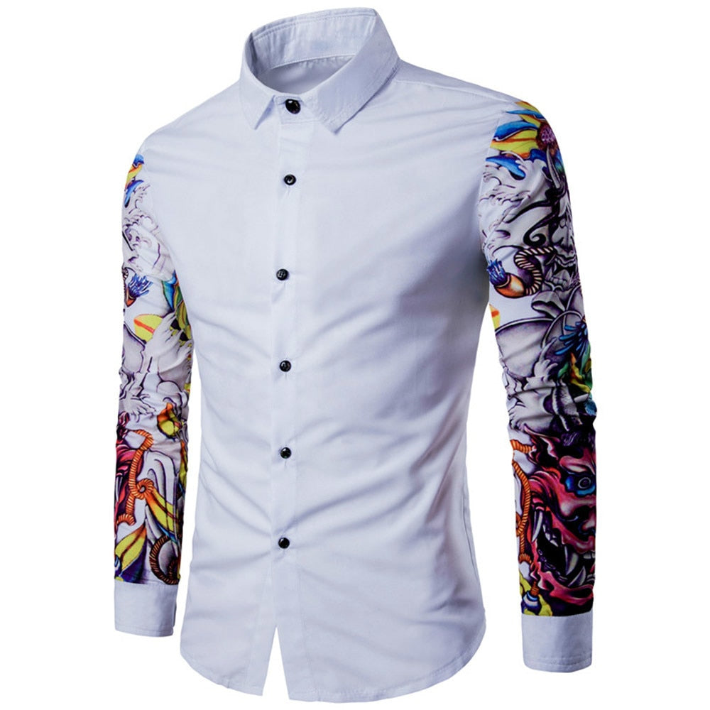13ef0a9e ... Shirt Pattern Design Long Sleeve Floral Flowers Print Slim Fit Men  Casual. Hover to zoom