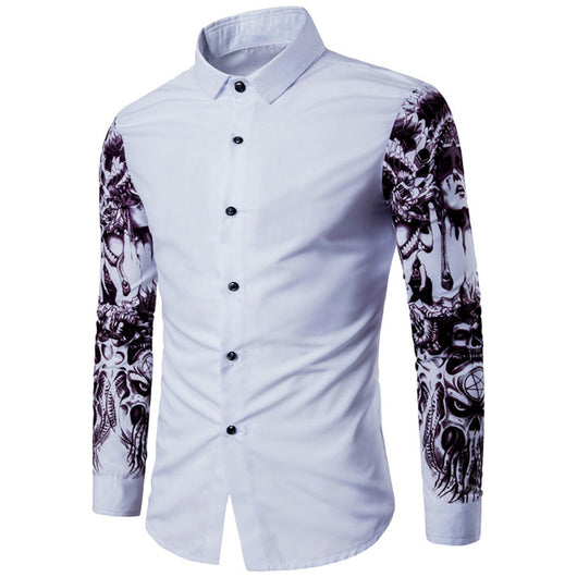2018 New Autumn Man Shirt Pattern Design Long Sleeve Floral Flowers Pr Owame