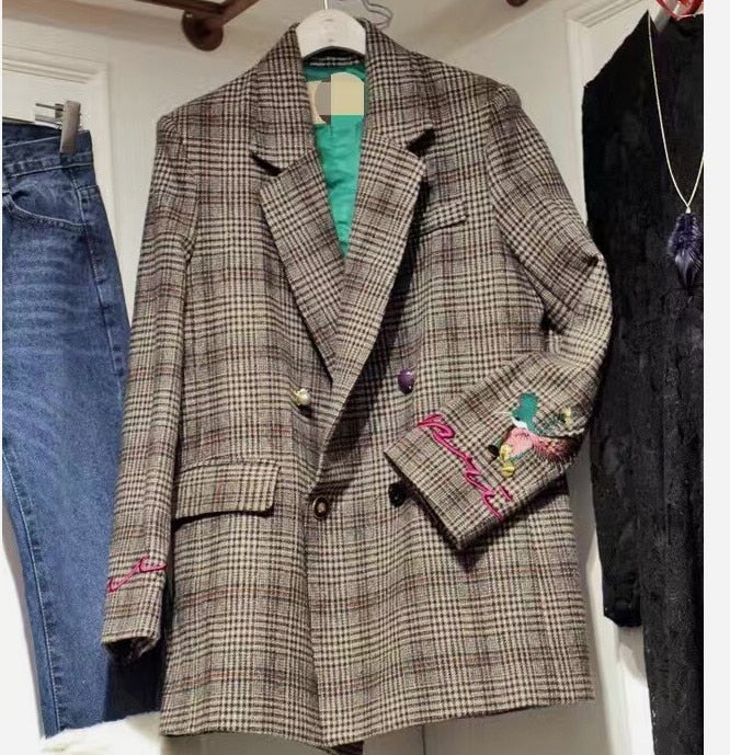 2018 New Autumn And Winter Women S Embroidered Retro Plaid Wool Suit